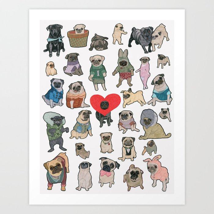 Pugs Art Print