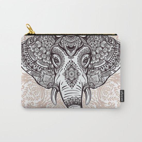 Elephant on Mandala Carry-All Pouch