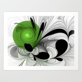 Abstract Black and White with Green Art Print