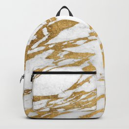 Modern Gold White Marble Stone Chic Pattern Backpack