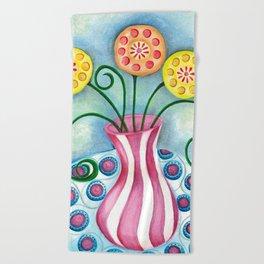 Lollipop Flowers Beach Towel