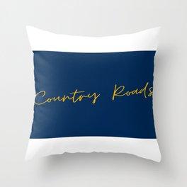 Country Roads West Virginia Cursive Text Print Throw Pillow