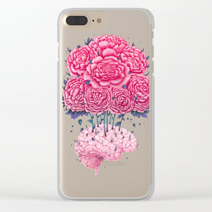 Creative Brains with peonies Clear iPhone Case