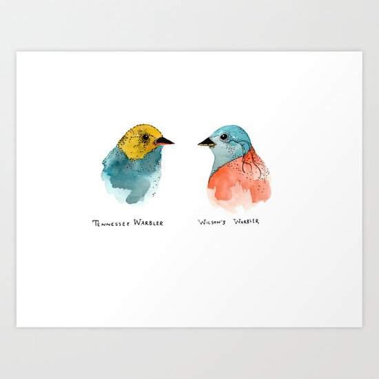TWO WARBLERS Art Print