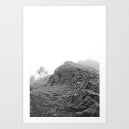 Foggy Mountain Landscape, Black and White Art Print
