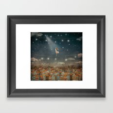 Illustration of  cute houses and  pretty girl   in night sky Framed Art Print