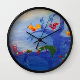 Multicolor Birds and Blue Tree in the Moonlight Wall Clock