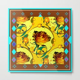 Yellow Rose Coffee Brown Western  Style Abstract Metal Print