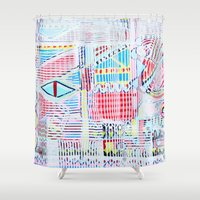 las vegas Shower Curtains featuring Vegas by Jelly Chen