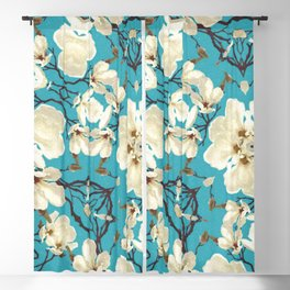 White Cherry Blossoms on Blue Background Blackout Curtain