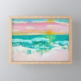 Pink Sand Sunset Framed Mini Art Print