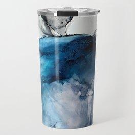White Sand Blue Sea - Alcohol Ink Painting Travel Mug