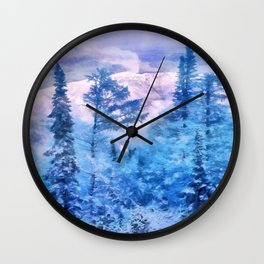 Winter forest in mountains Wall Clock