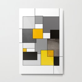 Black Yellow and Gray Geometric Art Metal Print