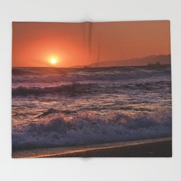 Beautiful Waves At Sunset. Throw Blanket