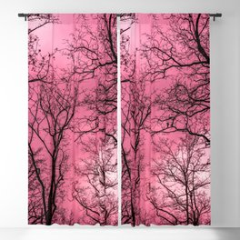 Creepy forest, pink sky Blackout Curtain