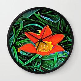 Flower of Enchanted Orange Flow Wall Clock