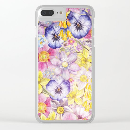Painterly Vintage Spring Flowers Pattern - Springflower floral Clear iPhone Case
