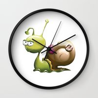 snail Wall Clocks featuring Snail by ArtPavo