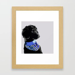 Black Standard Poodle in Blue Framed Art Print