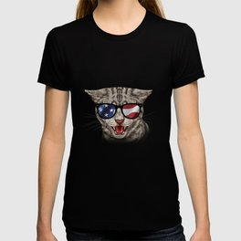 Cat With USA Flag Sunglasses Patriotic American T-shirt