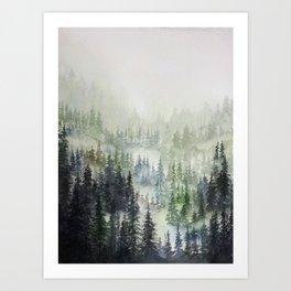 Misty Mountainside  Art Print