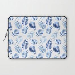 Tropical areca palms pattern in blue Laptop Sleeve