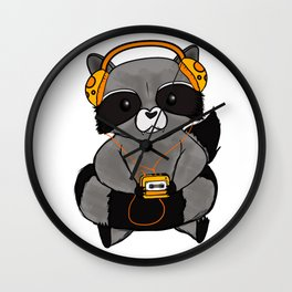three wise raccoon music Wall Clock