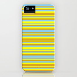 Yellow, Goldenrod & Light Sky Blue Colored Lined Pattern iPhone Case
