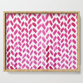 Cute watercolor knitting pattern - pink Serving Tray
