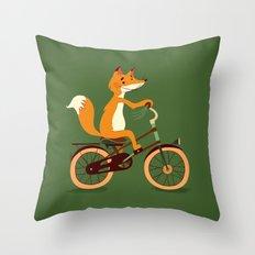 Little fox on the bike Throw Pillow