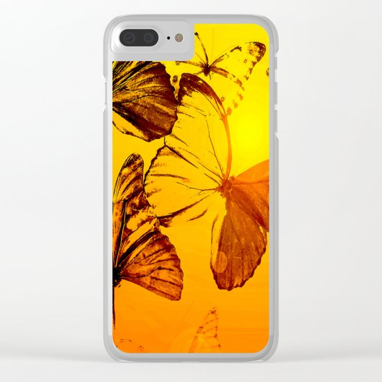 Fly fly butterfly! - Butterflies on a orange background with sunlight #society6 #buyart Clear iPhone Case