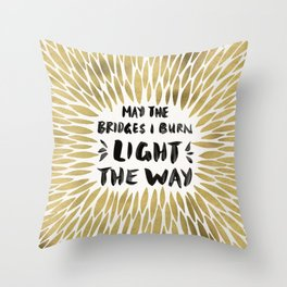 Bridges Burned – Gold Throw Pillow