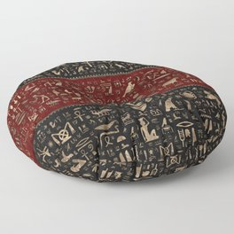 Ancient Egyptian hieroglyphs - Black and Red Leather and gold Floor Pillow
