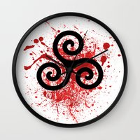 teen wolf Wall Clocks featuring Triskele 2 by AlixInsanity