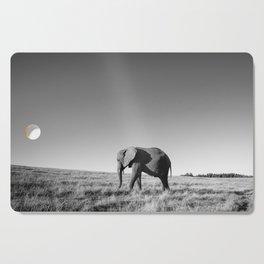 Lone female elephant walking along African savanna Cutting Board