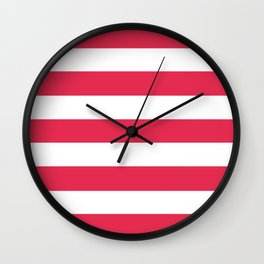 Amaranth - solid color - white stripes pattern Wall Clock