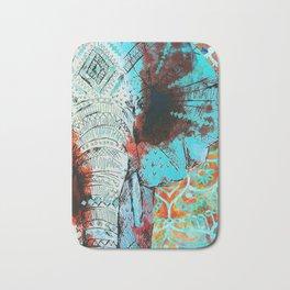 Indian Sketch Elephant Blue Orange Bath Mat