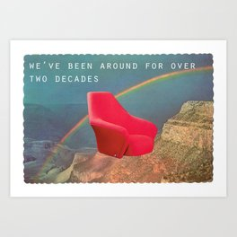 We've been around for over two decades (Red chair and the Grand Canyon) Art Print
