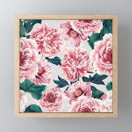 Pattern pink vintage peonies Framed Mini Art Print