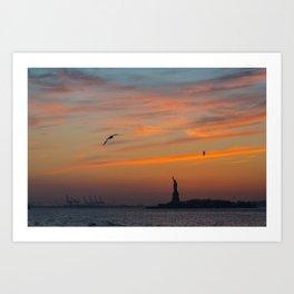 Statue of Liberty @ Sunset Art Print
