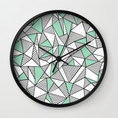 Abstraction Lines with Mint Blocks Wall Clock