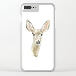 Doe Deer Watercolor Painting Fine Art Clear iPhone Case