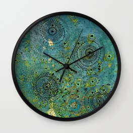 Blue & Green Abstract Art Collage Wall Clock