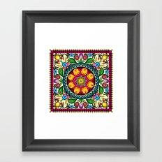 folk flowers collage Framed Art Print