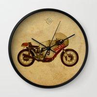 ducati Wall Clocks featuring Ducati Number 9 by Larsson Stevensem