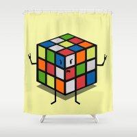 rebel Shower Curtains featuring Rebel Rubik by AlbaRicoque
