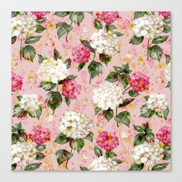 Vintage green pink white bohemian hortensia flowers Canvas Print