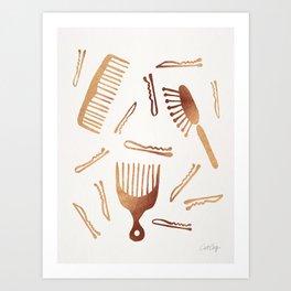 Good Hair Day – Rose Gold Palette Art Print