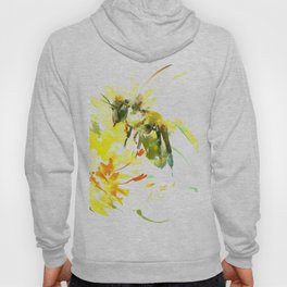 Honey Bee and Yellow Abstrac floral decor Hoodie